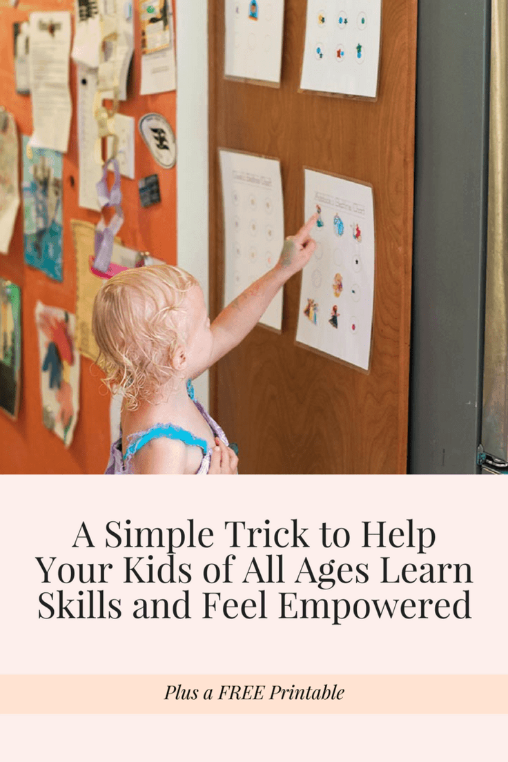 A simple trick to help your kids learn good habits and keep doing them! This simple technique and free printable charts will help you empower your child to start and maintain any good habit or behavior you choose! It includes a free printable sleep chart, free printable schoolwork chart, free printable potty training chart and a blank free printable chart to make your own.