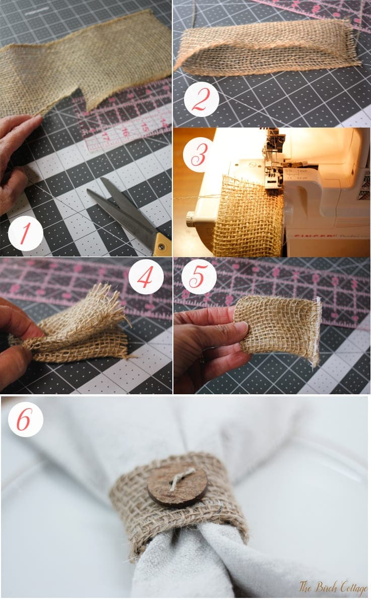 Make this easy to sew burlap napkin ring out of burlap ribbon. Follow this easy tutorial from The Birch Cottage to add a little bit of rustic charm to your tablescape!
