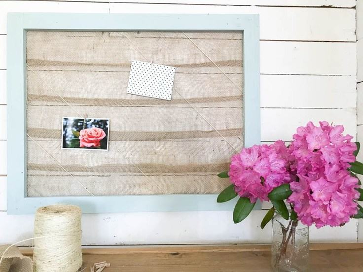 Simple Custom Memo Board with Burlap Ribbon – DIY Passion -- 12 creative burlap craft projects featured on Kenarry.com