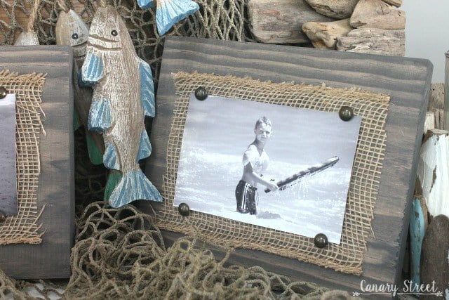 Easy Scrap Wood and Burlap Picture Frame – Canary Street Crafts -- 12 creative burlap craft projects featured on Kenarry.com