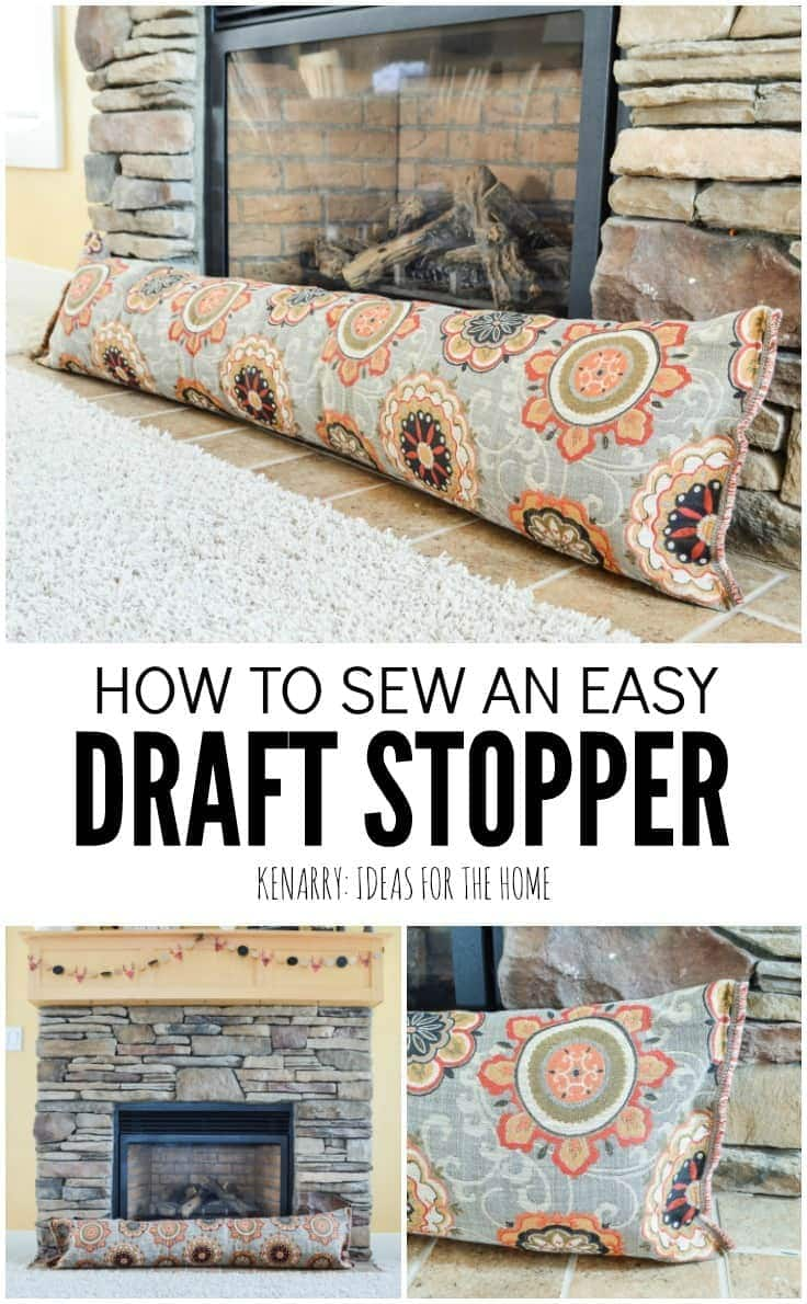 This easy sewing tutorial will teach you how to make a fireplace draft stopper. This simple DIY idea uses a body pillow and will help save heating costs and block cold air this winter.