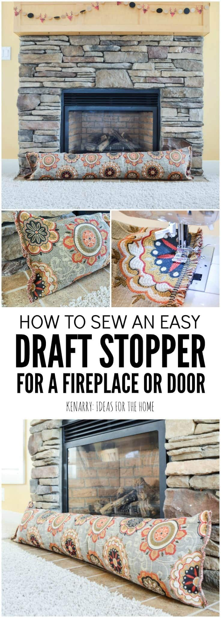 Keep cold air from coming into your home this season. In this easy sewing tutorial, you will learn how to make a fireplace draft blocker. This simple DIY draft stopper idea will help you stay warm and save on heating costs this winter.