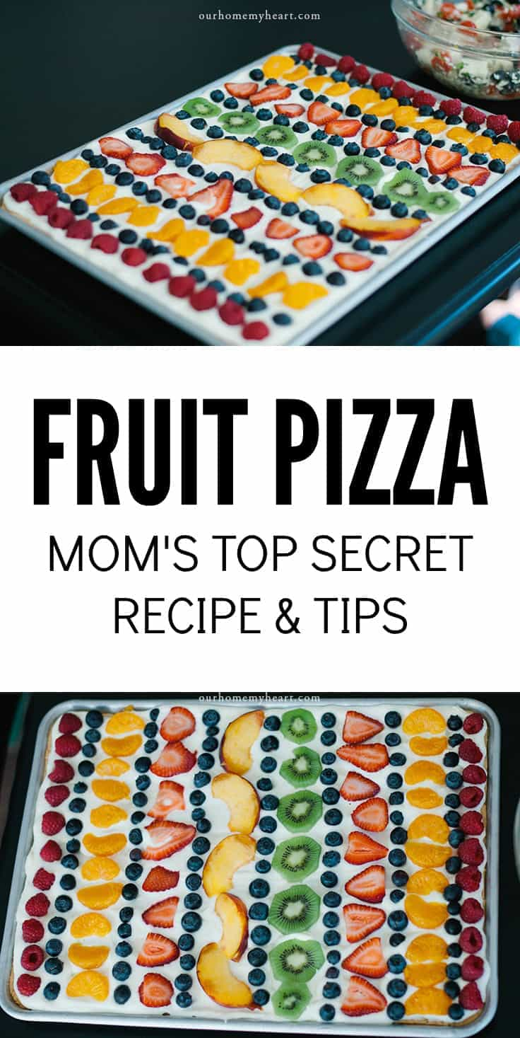 Create a fruit pizza using this delicious secret recipe from my mom. This flexible dessert that can be tailored to anyone's tastes. Use one fruit or pick several of your seasonal favorites.