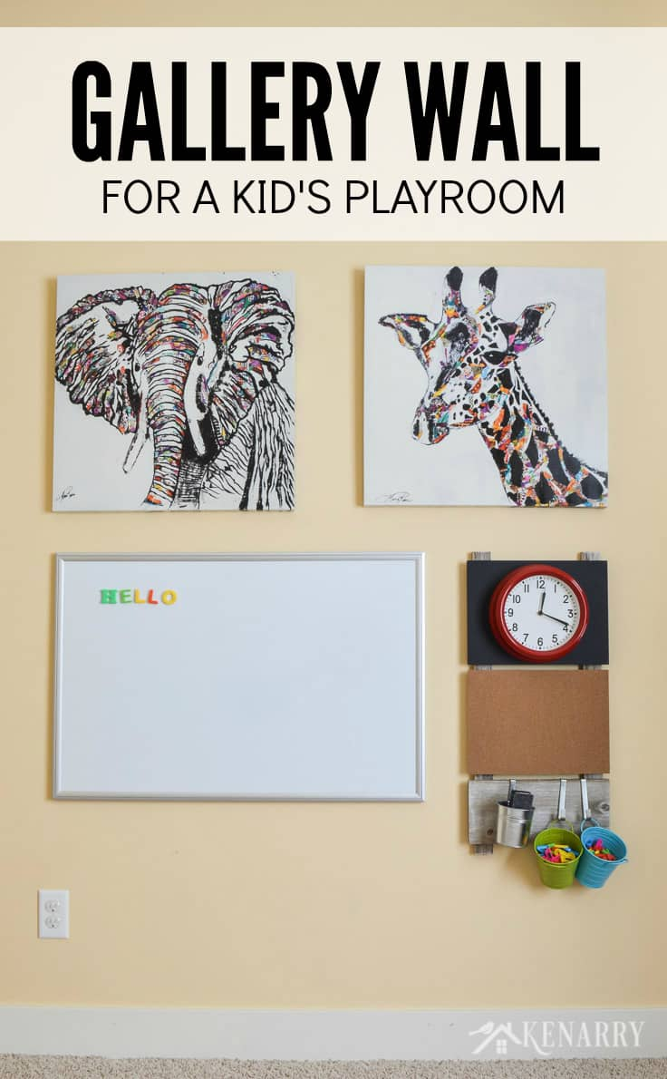 Create a gallery wall for children using playroom wall decor. Ideas include a magnetic marker board or dry erase board, a corkboard, magnetic letters and a bright red clock - plus large canvas art showing an elephant and a giraffe.