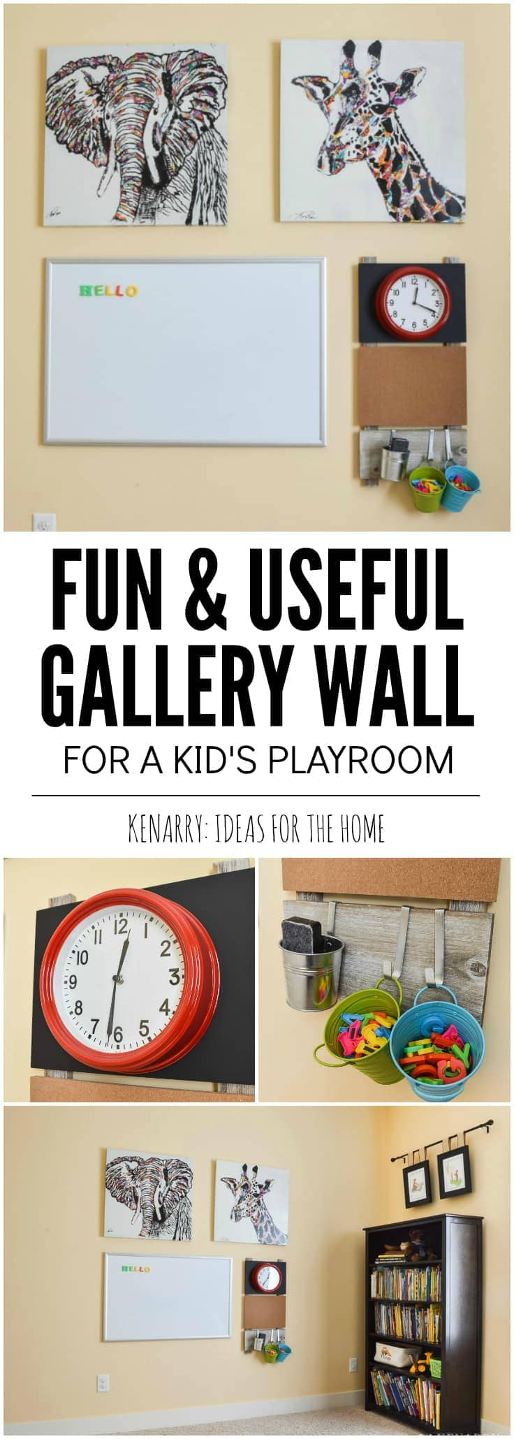 Playroom wall decor can be fun and useful! Use a magnetic marker board or dry erase board, a large red clock and big canvas elephant art and giraffe art to make a gallery wall for children.