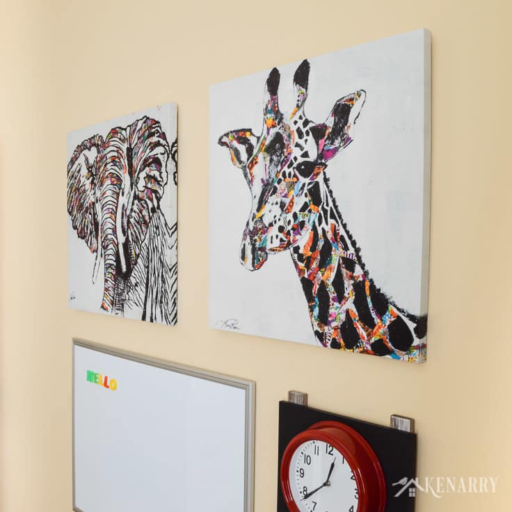 Animal prints or art can be such colorful playroom wall decor. This elephant art and giraffe art are among the ideas for a gallery wall in a colorful, fun playroom for children.