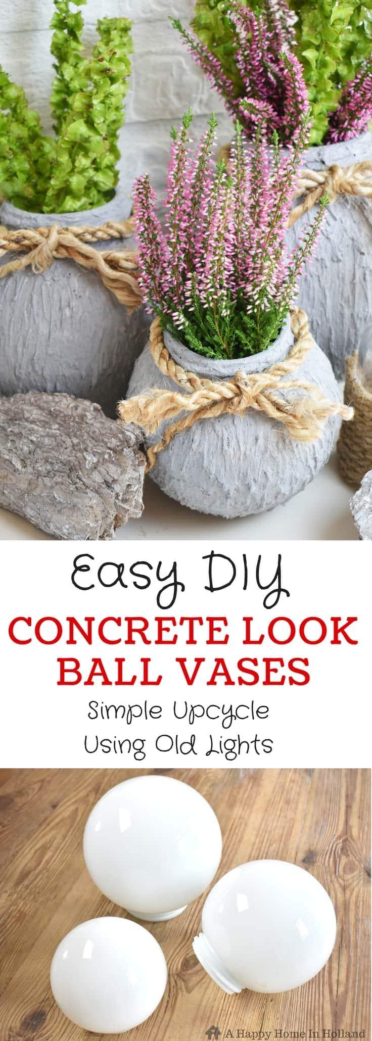 Easy DIY Concrete Look Ball Vases