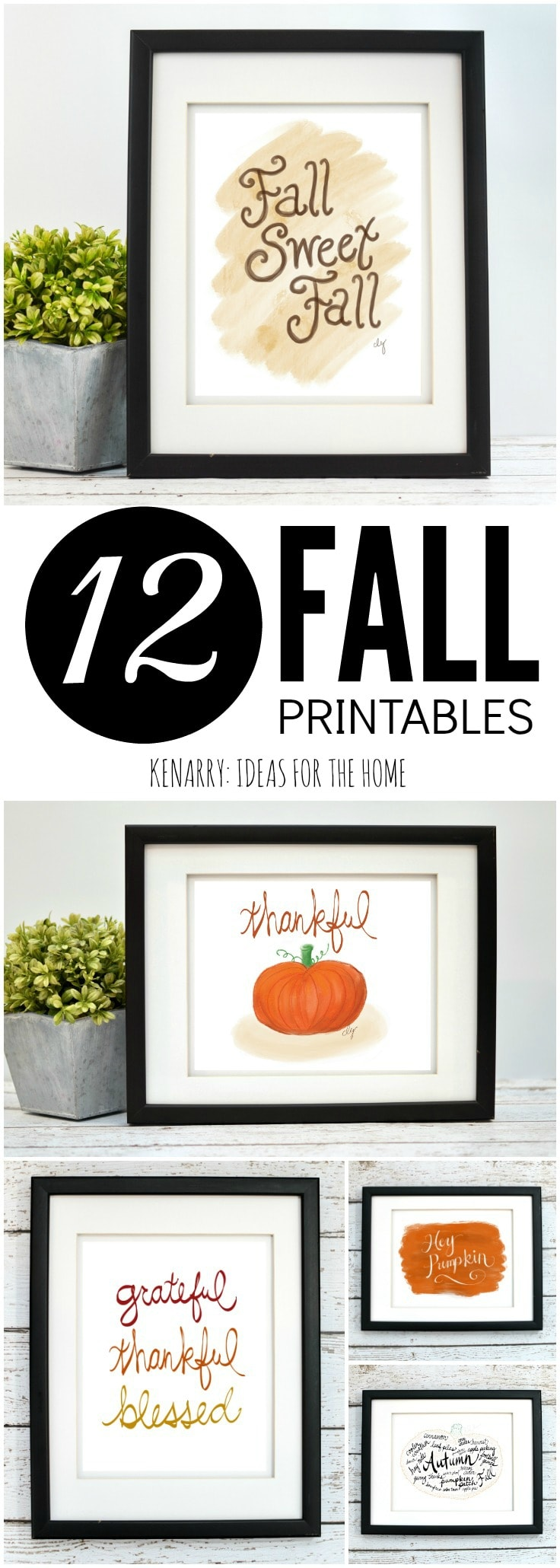 The fall art collection from Ideas for the Home by Kenarry® is available as digital printable art on Etsy. Printables are a great way to decorate the walls of your home on a budget for autumn, Halloween and Thanksgiving.