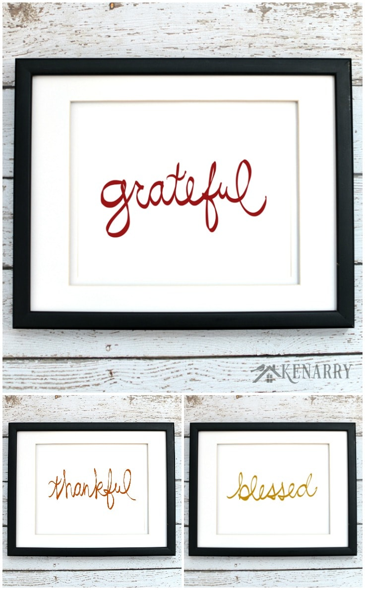 Hang these Thanksgiving printables individually or buy all three and hang them as a set in your home. They're part of the fall art collection from Ideas for the Home by Kenarry® on Etsy. Digital printables are a great way to easily decorate the walls of your home on a budget.