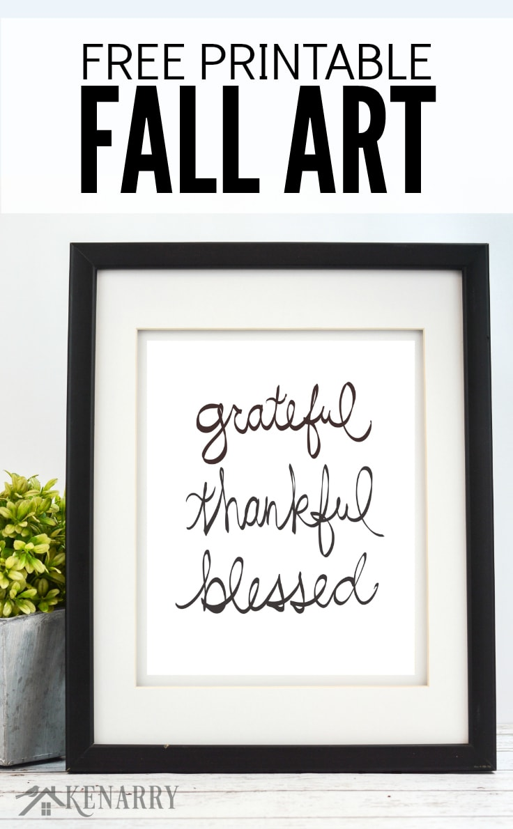 This black and white free printable fall art is a great way to decorate your home for Thanksgiving or autumn. With the neutral design of this print, you could even leave it on your wall year round!