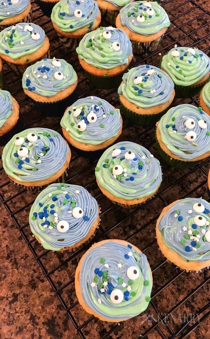 Create monster cupcakes using canned frosting, food coloring, sprinkles and this easy cupcake decorating idea. They're a cute idea for a kid's birthday treat or Halloween party.
