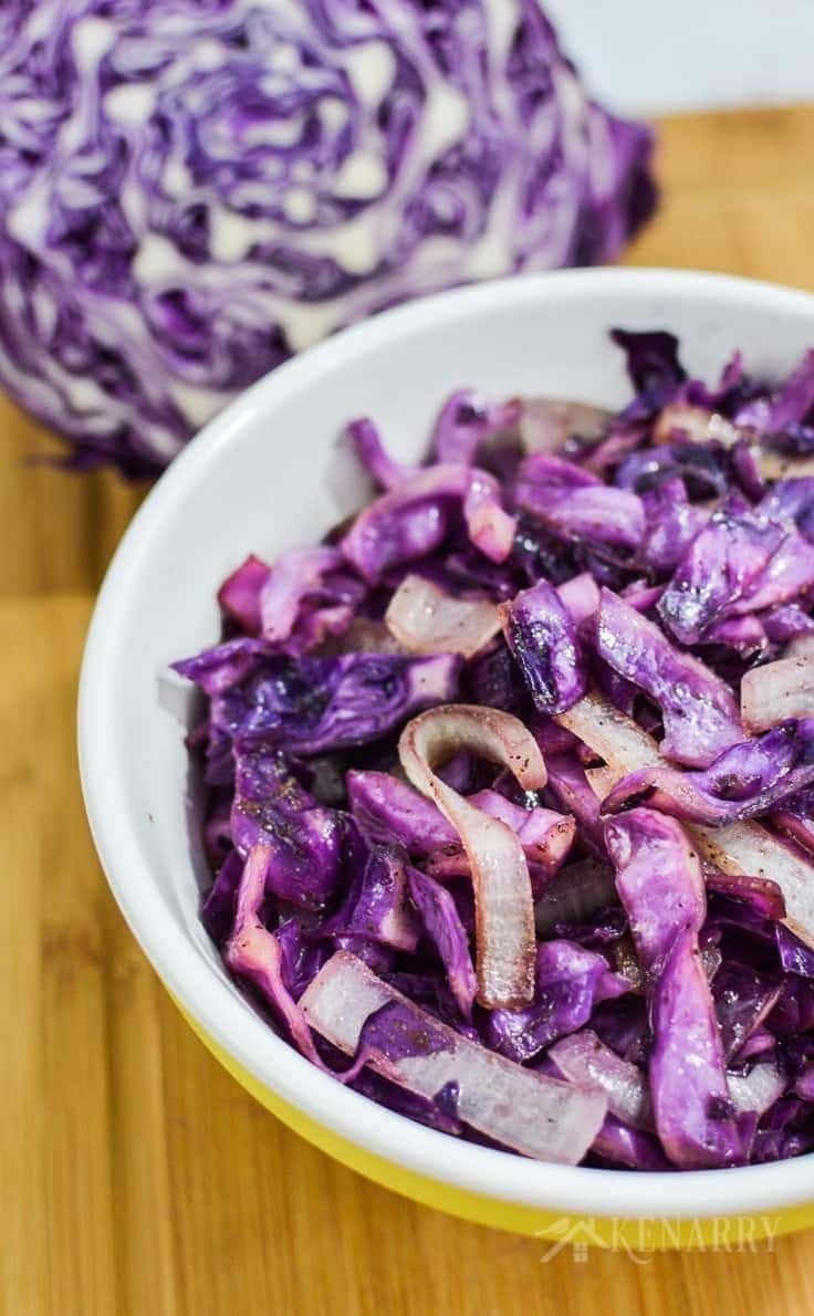 bowl of Southwest Sautéed Red Cabbage with onion