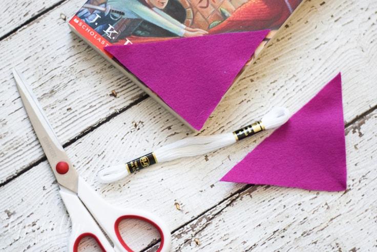 How to cut felt to make a corner bookmark.
