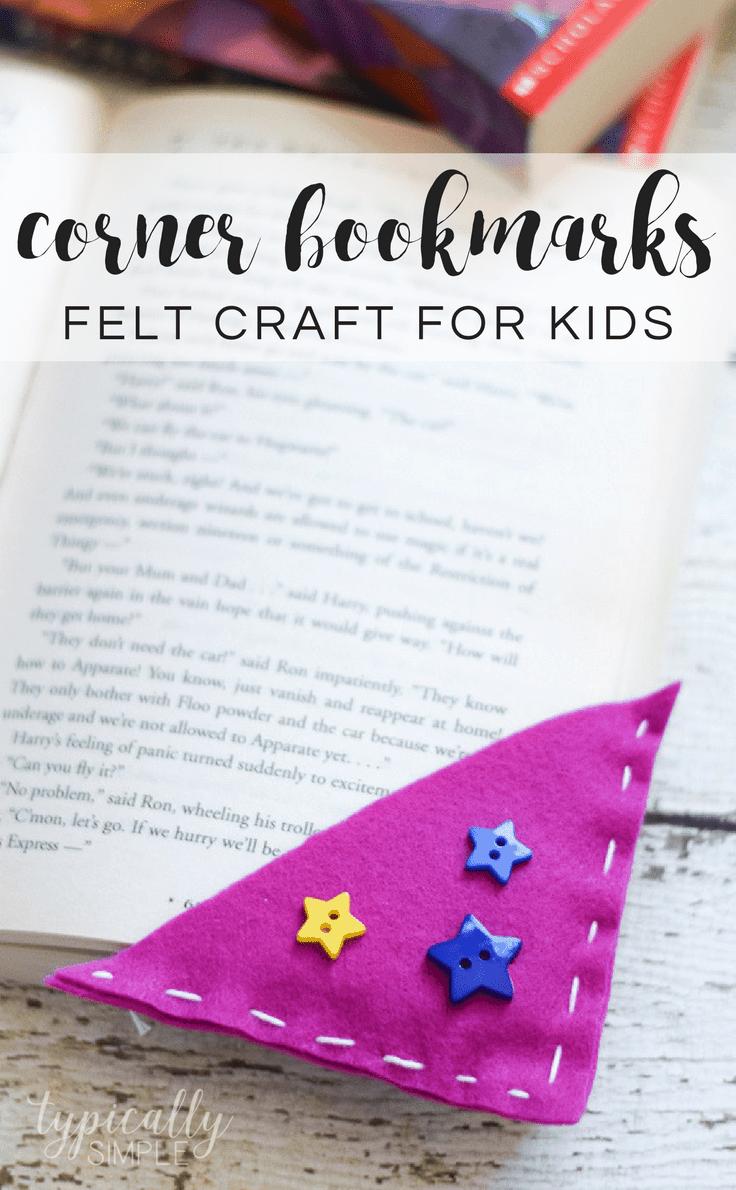 Corner bookmarks - Felt craft for kids.