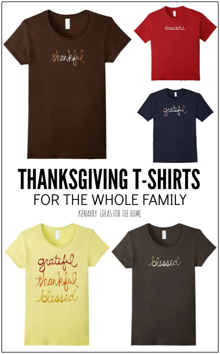 These Thanksgiving shirts are casual and stylish, perfect to wear this holiday season. The t-shirts, designed by Kenarry.com, comes in men's, women's and kid's sizes for the whole family.