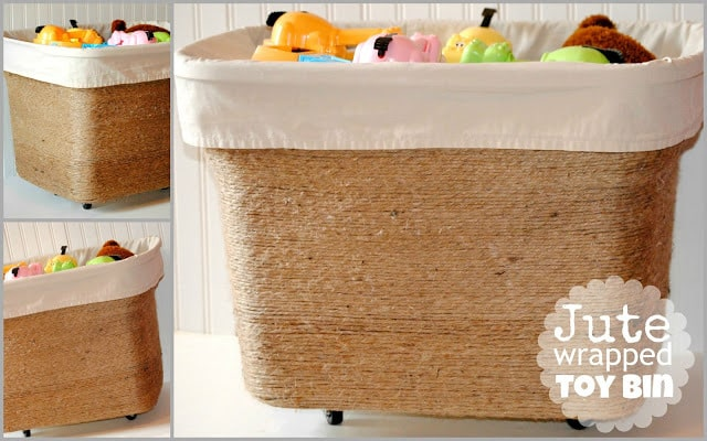 Jute Wrapped Toy Bin – Happy Go Lucky - Jute Craft Ideas / DIY Projects with Twine featured on Kenarry.com