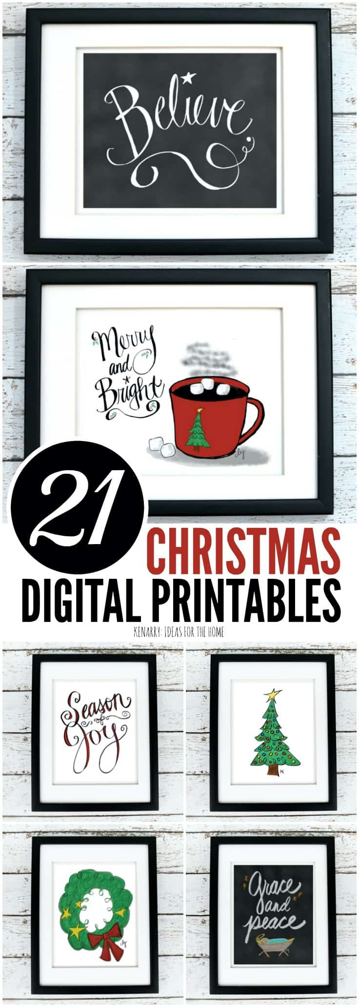 The Christmas printables collection from Ideas for the Home by Kenarry® is available as digital printable art on Etsy. Printables are a great way to decorate the walls of your home on a budget for Christmas and the holiday season.