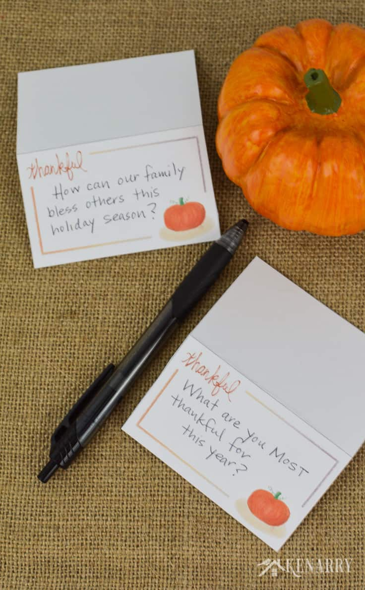 Turn these free printable Thanksgiving place cards into easy conversation starters for your holiday dinner by writing questions on the cards in addition to or instead of names.
