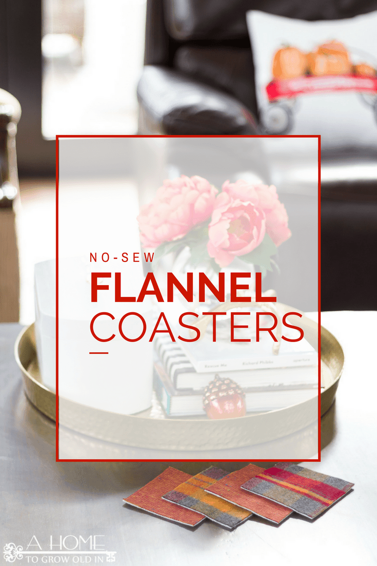 Make these easy no-sew flannel coasters in 5 minutes or less! They are perfect for all your holiday entertaining!
