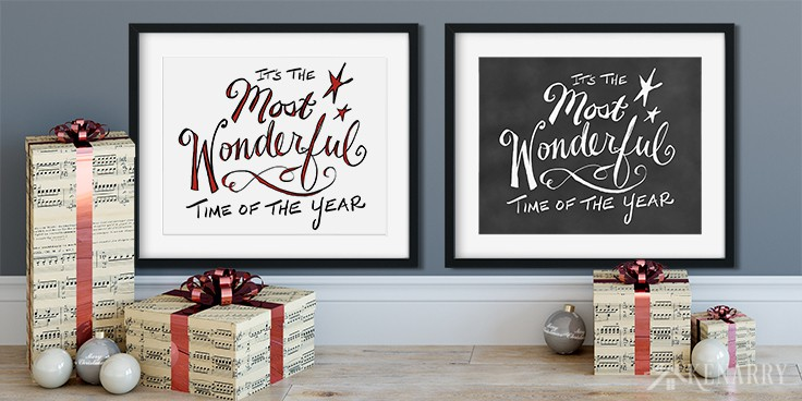 """Decorate your home for the holidays with Christmas free printables. These two digital prints featuring """"It's the Most Wonderful Time of the Year"""" are a free gift for Kenarry Idea Insiders this holiday season!"""