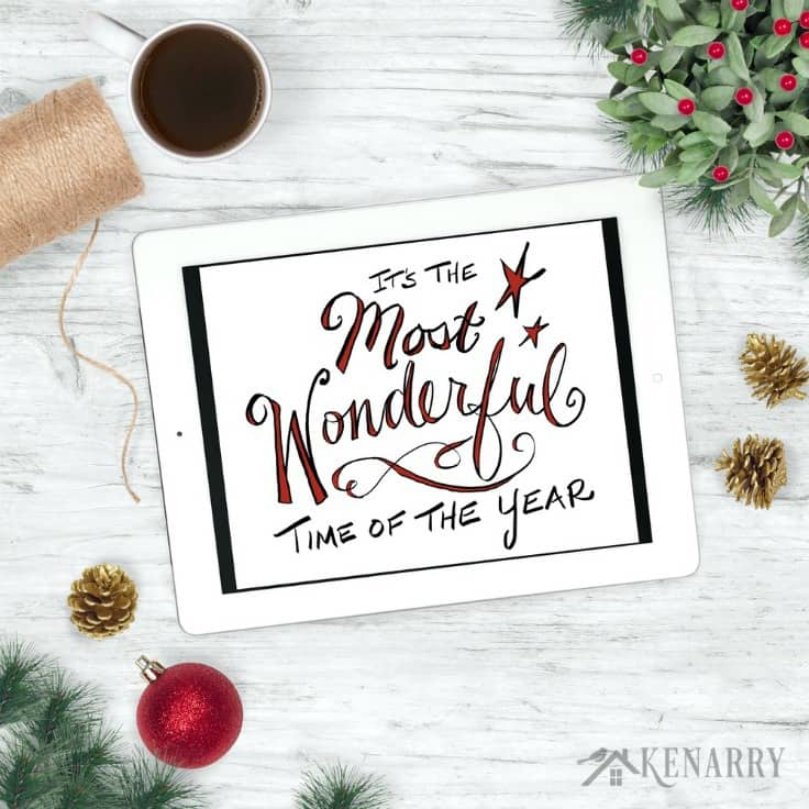 """Get this colorful hand lettered digital art featuring """"It's the Most Wonderful Time of the Year"""" as a free printable Christmas gift when you sign up to become a Kenarry Idea Insider."""