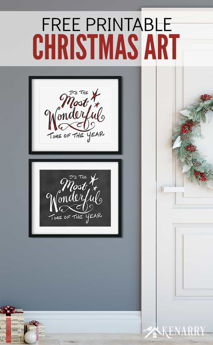 """Love to decorate with Christmas free printables? These two digital prints featuring """"It's the Most Wonderful Time of the Year"""" are a free gift for Kenarry Idea Insiders this holiday season!"""