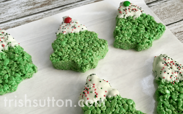 Rice Krispies Snow Capped Christmas Trees – By Trish Sutton - 14 Easy Dessert Recipes and Christmas Potluck Ideas featured on Kenarry.com