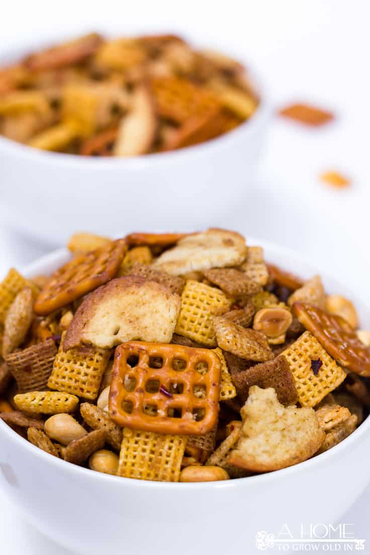 spicy Sriracha Chex mix served in bowls