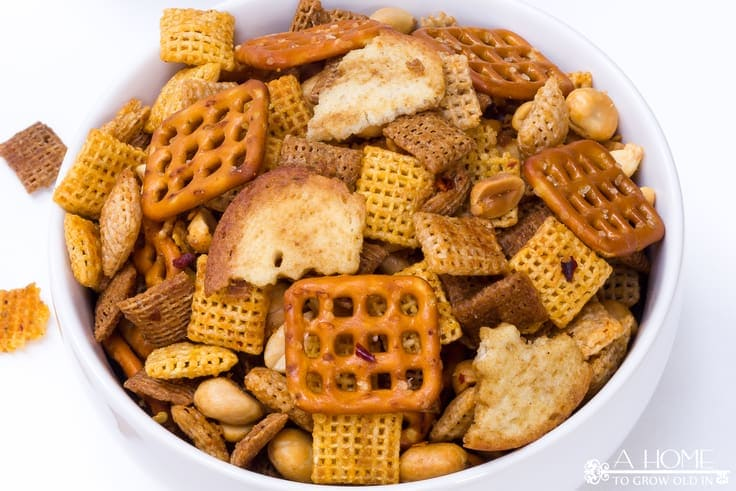 spicy sriracha chex mix served in a bowl