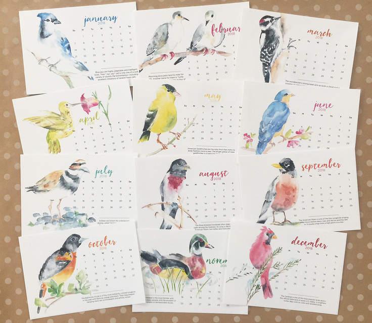 2018 Watercolor Bird Calendars make the perfect holiday gift