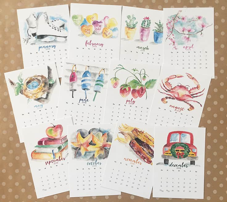 2018 Watercolor Calendars make the perfect holiday gift