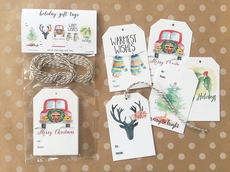 2018 Watercolor Calendars and handmade gift tags make the perfect holiday gift