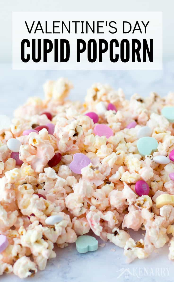 Cupid popcorn is an easy Valentine's Day recipe made with microwave popcorn and white chocolate for a sweet treat your kids will love.