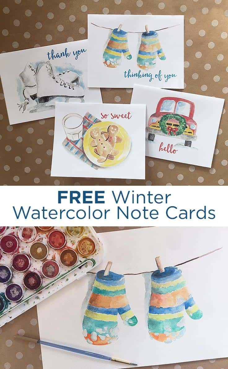 Get these FREE winter watercolor note cards to send a birthday wish, a thank you, orjust tolet someone know you're thinking of them this season. #watercolor #notecards #kenarry