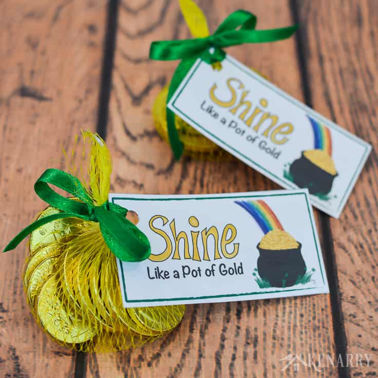Small bags of gold coins and these free printable treat tags are perfect to use for St. Patrick's Day party favors. With a pot of gold and a rainbow they're colorful and fun for both kids and adults.