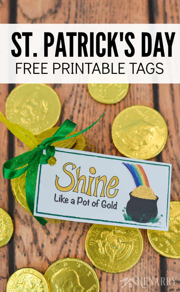 These free printable treat tags add a colorful and festive touch to your St. Patrick's Day party favors. The tags feature a big pot of gold and a rainbow, perfect for leprechauns young and old!