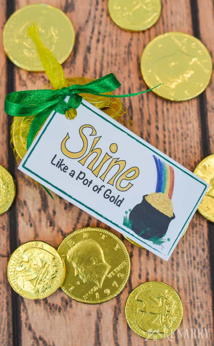Gold coins and these free printable treat tags are perfect for St. Patrick's Day party favors. With a pot of gold and a rainbow they're colorful and fun for both kids and adults.