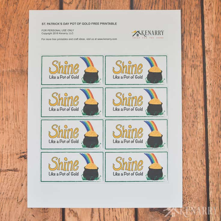 """Printable party favors that say """"shine like a pot of gold"""""""