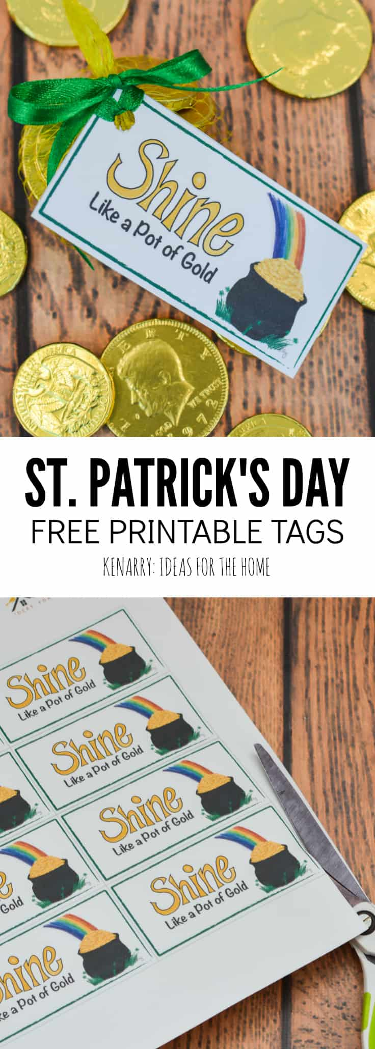 These free printable treat tags are so cute! They're perfect for St. Patrick's Day party favors and feature a pot of gold and a colorful rainbow for both kids and adults.