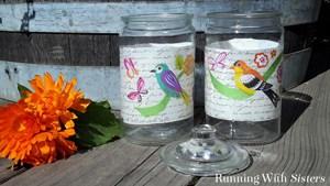 Decoupage glass jars with Mod Podge! We'll show you every step!