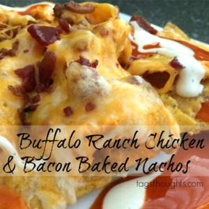 Buffalo Ranch Chicken & Bacon Baked Nachos