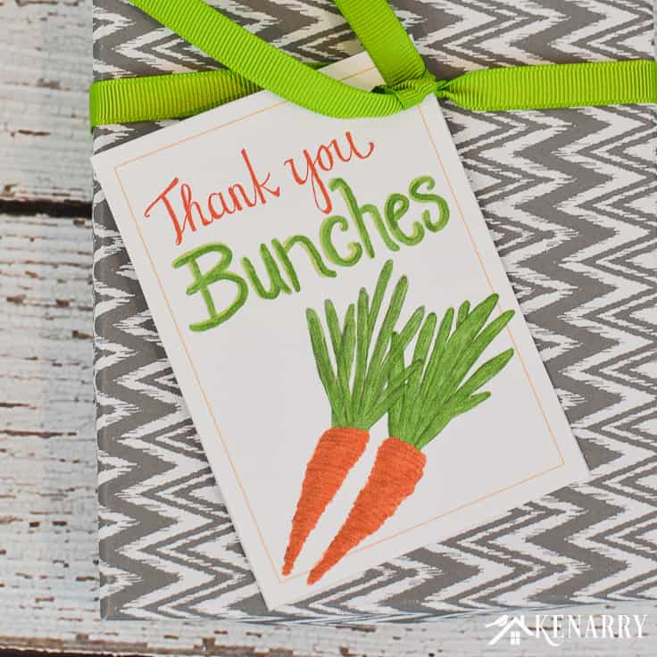 Express your gratitude with spring thank you cards. These free printable tags feature hand drawn carrots and a sweet note to say thank you bunches. They're perfect to use for Easter, Mother's Day, teacher appreciation and more!