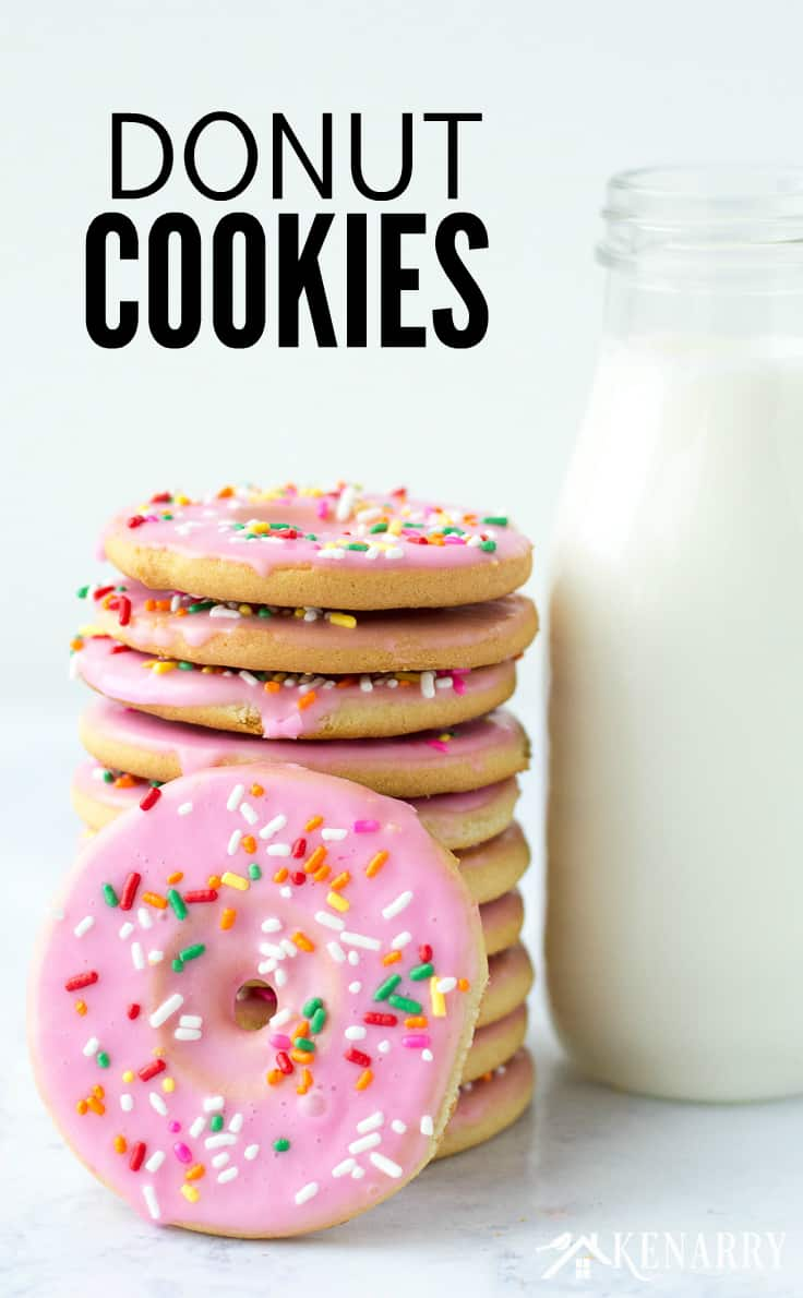 Create a fun dessert with the kids using this easy recipe for frosted Donut Cookies made from sugar cookie dough. Topped with sprinkles, these cookies are a great party treat!