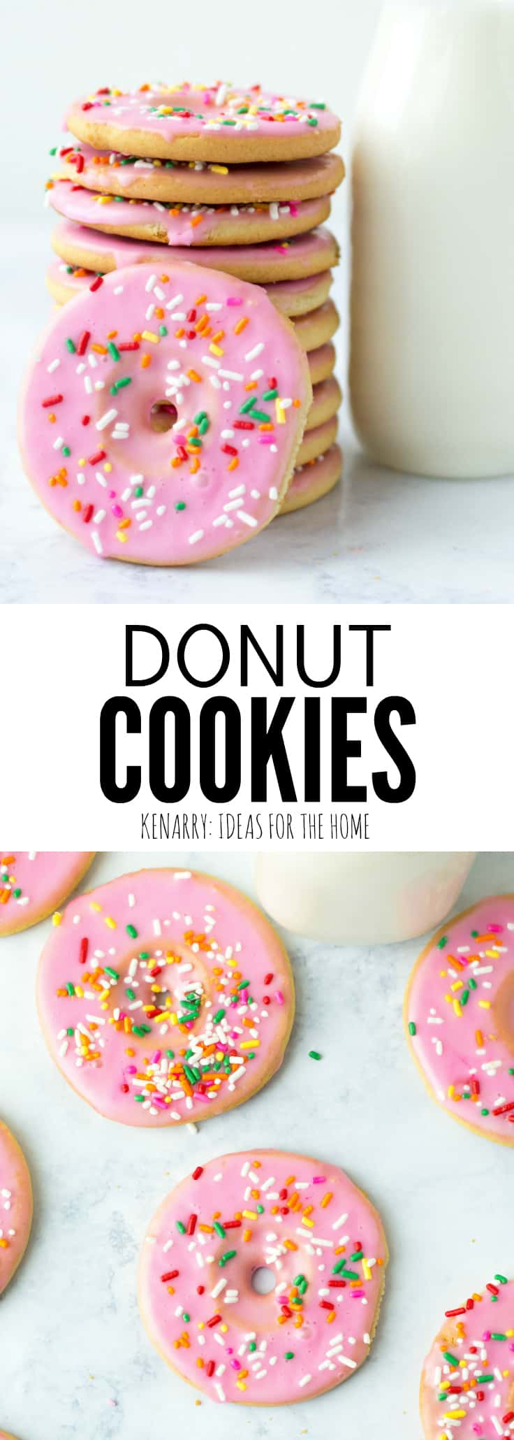 Create a fun dessert with the kids using this easy recipe for frosted cut out Donut Cookies made from sugar cookie dough. Decorated with sprinkles, these cookies are a great party treat! #donuts #sugarcookies #ideasforthehome #kenarry