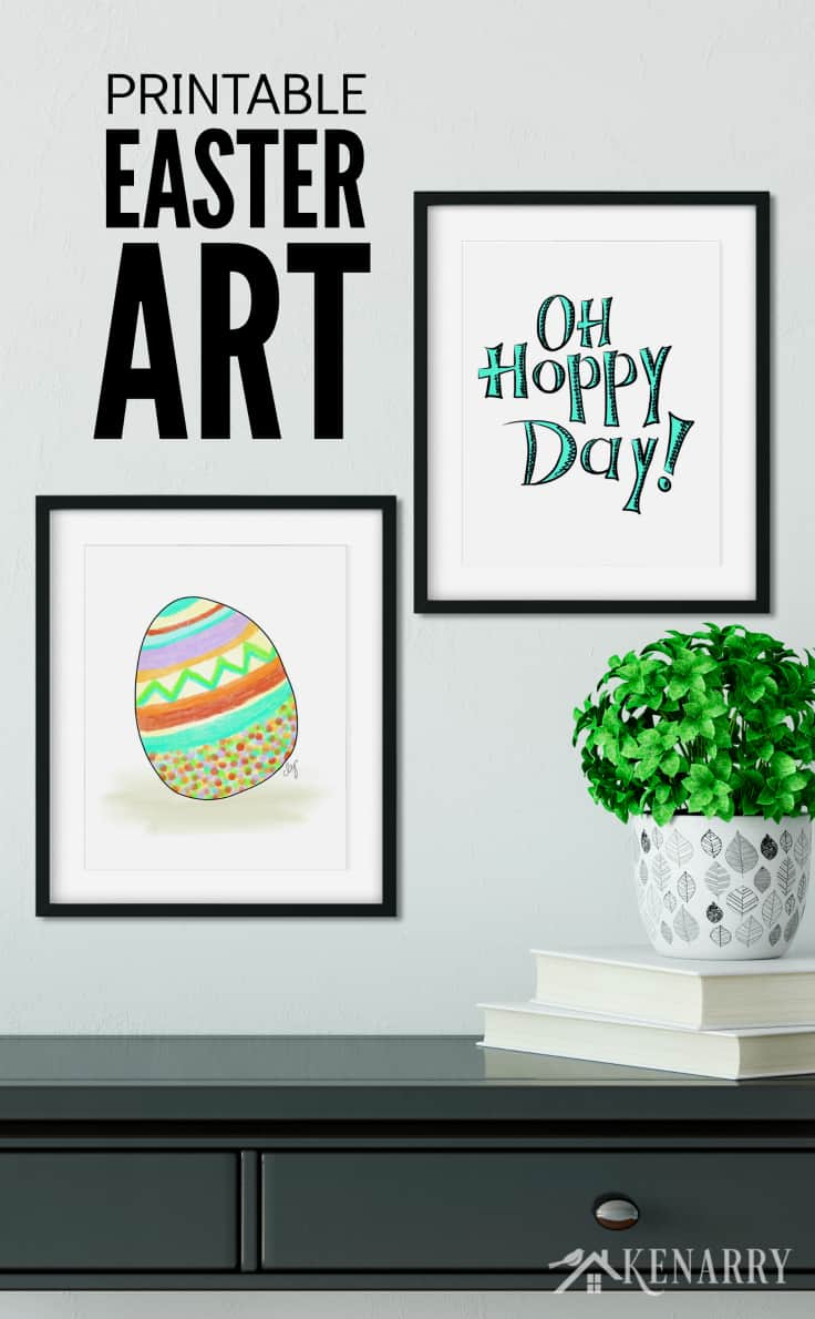 Oh hoppy day! This printable Easter art helps you easily update your walls with spring home decor. The collection includes an Easter egg, carrots, a Happy Easter art and a whimsical Easter bunny.