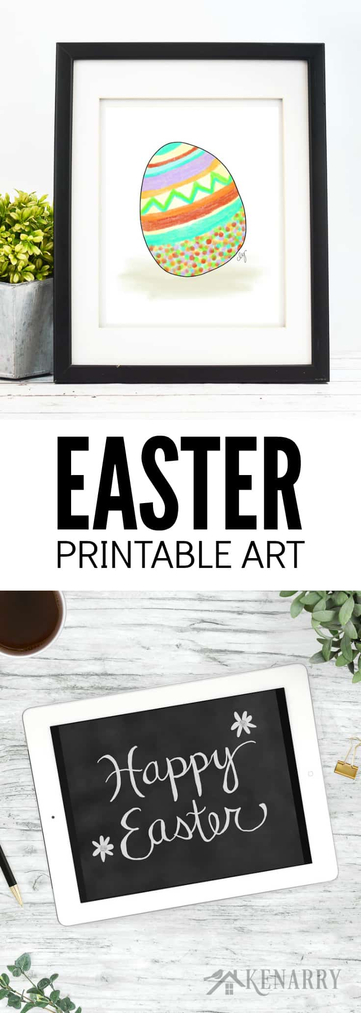 This printable Easter art helps you easily update your walls with spring home decor. The collection includes Easter egg art, a Happy Easter chalkboard print, carrots, an Easter bunny print and other spring prints.