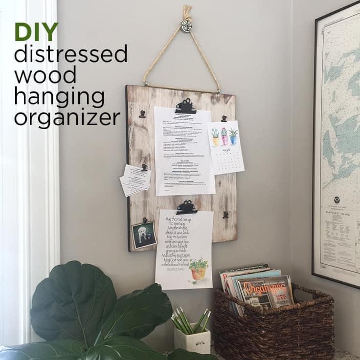DIY distressed wood hanging organizer