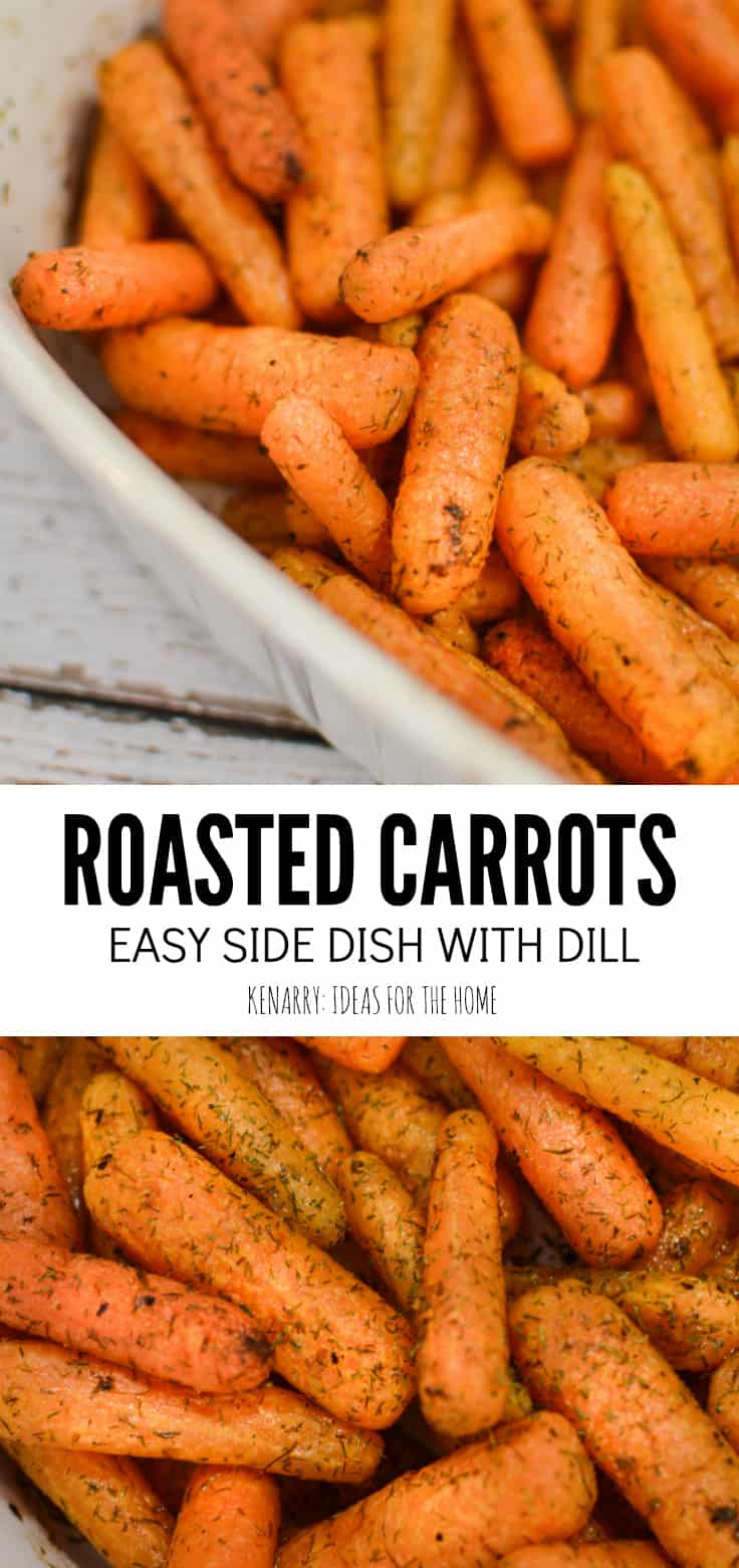roasted carrots with dill in a white baking dish