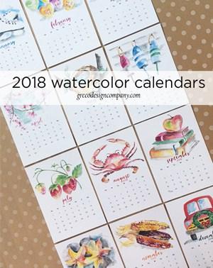 2018 Watercolor Calendars