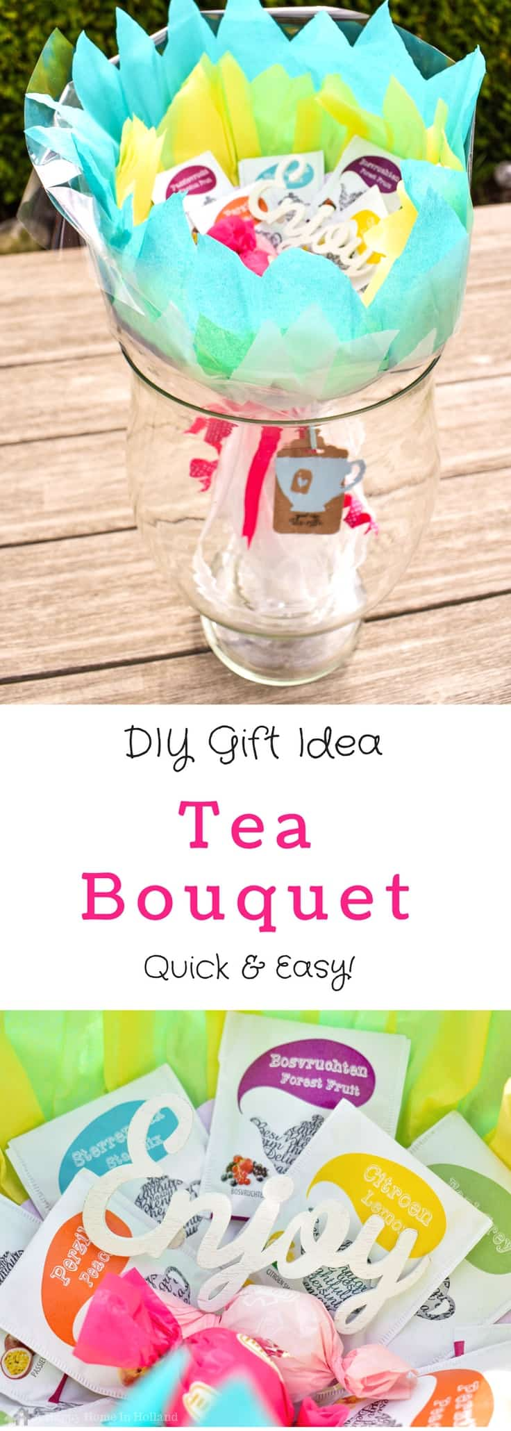 DIY Tea Bouquet - A quick and easy budget gift idea: perfect for mother's day, teacher appreciation and get well gifts